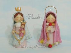 Virgencitas Porfis: Virgen de San Nicolás y Rosa Mística .- Clay Crafts, Diy And Crafts, Arts And Crafts, Jumping Clay, Biscuits, Christmas Crafts, Christmas Ornaments, Cute Clay, Ideas Para Fiestas