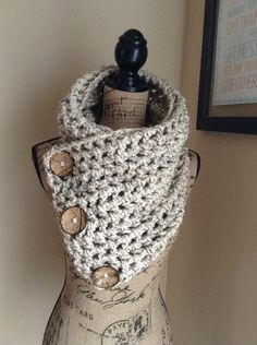 Oatmeal Buttoned Crochet Cowl by KristasCowls on Etsy, $55.00