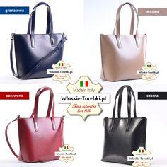 Torebka Patrizia w czterech modnych kolorach. Mieści A4, zapraszamy do naszego sklepu http://wloskie-torebki.pl/sklep/