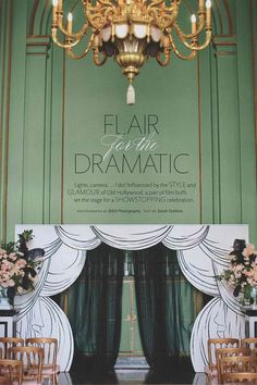 """Giant trompe l'oeil sets, inspired by those in """"An American in Paris,"""" served as backdrops. Courtney and Jose's ceremony was marked by a voluminous """"curtain"""" that was hand-painted by the couple's friend and flanked with urns of garden roses, dahlias, and ostrich feathers."""