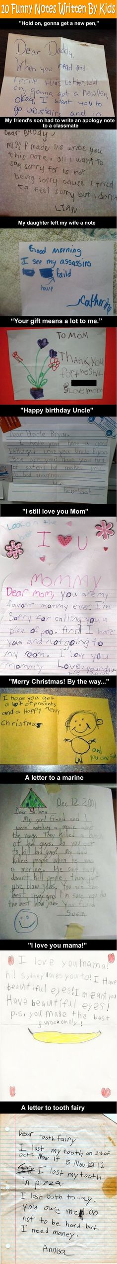 10 Funny Notes Written By Kids.: