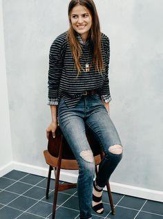 "madewell 9"" high riser skinny skinny jeans in kincaid wash worn with the soundwall sweatshirt, ex-boyfriend shirt in kemp plaid + the octavia sandal. #denimmadewell"