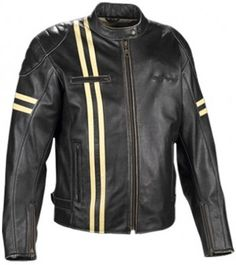 New Black and Yellow Stripe Leather Jacket