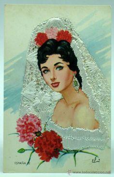 Postal bordada León España 32 Mujer mantilla y claveles Ed Juan Melero Madrid 1961 sin circular
