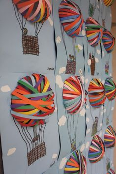 Craft idea for children - hot air balloons with paper Bastelidee für Kinder – Heißluftballons mit Papierstreifen. Craft idea for children – hot air balloons with paper strips. Kids Crafts, Fun Diy Crafts, Diy Arts And Crafts, Summer Crafts, Diy Craft Projects, Craft Ideas, Diy Ideas, 3d Craft, Group Art Projects