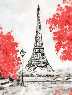 Home Decoration Wall Paintings Eiffel Tower Drawing Easy, Eiffel Tower Painting, Eiffel Tower Art, Eiffel Towers, Watercolor Paintings For Beginners, Watercolor Art, Eiffel Tower Pictures, Paris Drawing, Paris Torre Eiffel