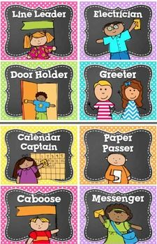 33 Classroom Job/ Helpers- in BRIGHT Polka Dot & Chalkboard ! This set has 33 different Classroom Jobs with precious clip art PLUS a HEADER and 6 blank/editable cards! 4 job cards per page. I've also included 6 EDITABLE blank job cards! First Grade Classroom, Classroom Setup, Classroom Design, Preschool Classroom, Future Classroom, In Kindergarten, Classroom Job Chart, Preschool Job Chart, Polka Dot Classroom