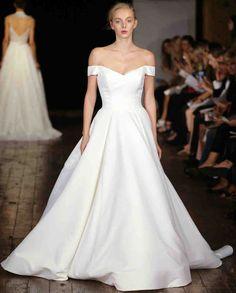 "Rivini by Rita Vinieris Fall 2017 Wedding Dress Collection   Martha Stewart Weddings – ""Darling"" Princess Ballgown with portrait neckline."