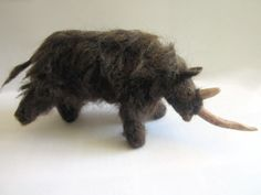 Needle felted animal woolly rhinoceros 7.09x3.54 by NemusCervorum, €70.00