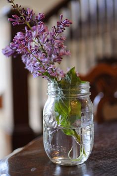 Mason Jar with Flowers   #lilacs #masonjar