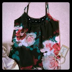 🌸HOST PICK🌸 Perfect top You can dress up or down super cute with adjustable spaghetti straps. Just the right amount of bling. Candie's Tops Tank Tops