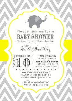 PRINTABLE Gray and Yellow Chevron Elephant Baby Shower Invitation - colors can be changed. $15.00, via Etsy.