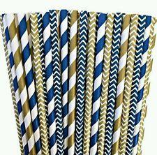Navy Blue Gold Paper Straws, Party Straws, Baby Shower, Wedding, Birthday Party