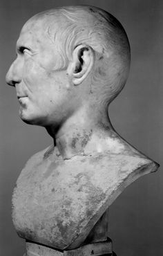 Marble portrait head of aged man