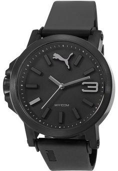 Черен часовник със силиконова каишка
