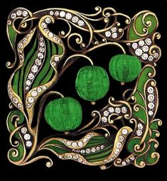 Art Nouveau carved emerald, enamel and diamond-set brooch.