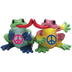 PEACE FROGS ~ Peace Sign TONGUE KISS LOVE Collectable Salt & Pepper Shakers NEW