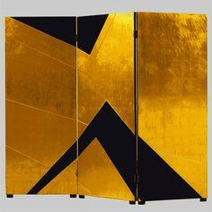 Gold and black art deco screen by Katsu Hamanaka, c.1920 / Galerie Dutko