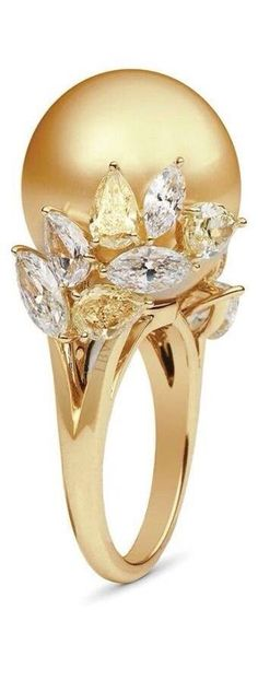 Golden South Sea Pearl, Yellow and White Diamond and 18K Gold Ring