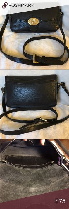 Dooney & Bourke all black Cavalry leather bag Dooney & Bourke Cavalry Pebbled black leather with black leather trim, solid brass hardware, very clean both inside and out, some scratches on lock and minor wear at the bottom corners, overall very good vintage condition, smoke free Dooney & Bourke Bags Crossbody Bags