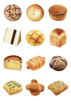 イラストレーター 内田 有美さん Cute Food, Good Food, Cafe Logos, Food Art Painting, Dessert Illustration, Watercolor Food, Food Icons, Food Drawing, Ciabatta
