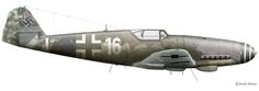 "Messerschmitt Bf 109 K-4 'white 16"" Flown by unknown pilot from 9./JG 53, Otterfing/Germany, May 1945.Profile © Claes Sundin 2011"