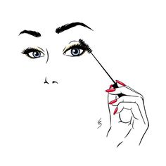 Fashion Illustration by Lydia Snowden. Lashes and red nails. Makeup Backgrounds, Makeup Wallpapers, Cute Wallpapers, Deco Time, Eyelash Extensions Prices, Eyelash Salon, Makeup Illustration, Makeup Drawing, Photo D Art