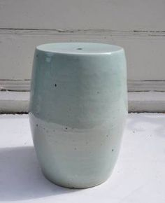 Glazed Ceramic Garden Stool in Palest Blue Celadon Top Slightly Concave Color and Sizes Vary Slightly Ceramic Garden Stools, Komodo, Concave, Glazed Ceramic, Interiores Design, Vase, Ceramics, Gardens, Dutch