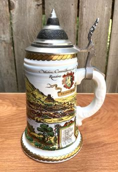 Vintage German Beer Stein, Vintage Beer Mug, Pewter Lid, German Stein, Ceramic Beer Stein, Made in Western Germany, Heidelberg, Stein by Vintagetinshed on Etsy