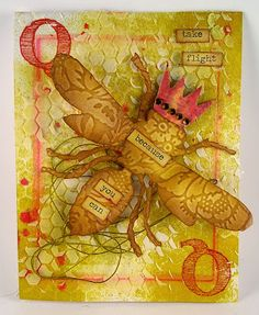 Suzz's Stamping Spot, Simon Says Stamp Monday Challenge Royal, Bee, Queen Bee, Card