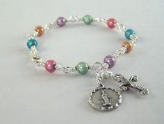 Colorful Miraculous Medal Rosary Bracelet by HopeFaithAndBeads
