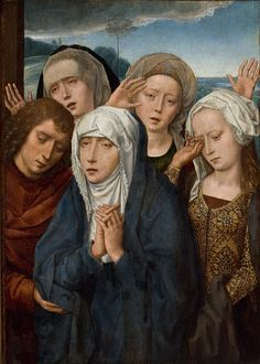 The Mourning Virgin with St. John and the Pious Women from Galilee - Hans Memling, 1485