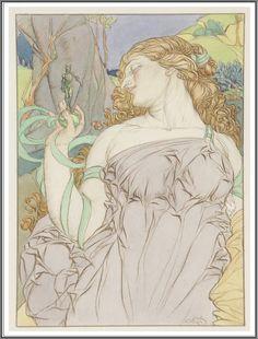Alfred Garth Jones (1872-1930), Jeune femme tenant une statuette.