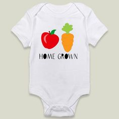 Custe Apple and carrot Home Grown Onesy by CuteTees on BoomBoomPrints