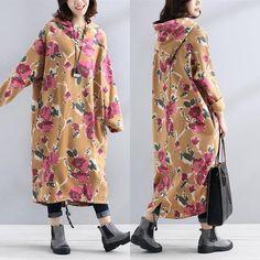Retro Printing Long Sleeves Literature Winter Women Hoody Dress