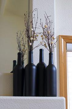 wine bottle vases painted in chalk board spray