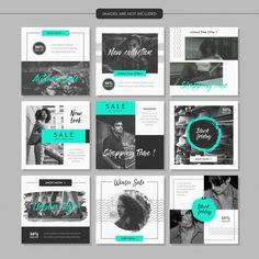 Modelo de postagem de mídia social de moda em tons de cinza Vetor Premium Instagram Design, Layout Do Instagram, Instagram Grid, Instagram Post Template, Free Instagram, Social Media Banner, Social Media Template, Social Media Design, Social Media Graphics