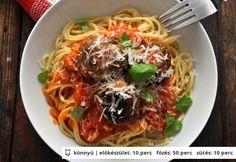 Spagetti paradicsomos húsgombóccal Ravioli, Spagetti, Food Inspiration, Ethnic Recipes, Baba, Illustration, Illustrations