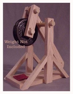 Oak Working Model Trebuchet Catapult Kit - Real hardwood, NOT LASER cut plywood.
