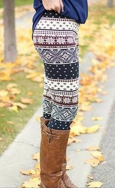 Wine Christmas pattern stretchy leggings