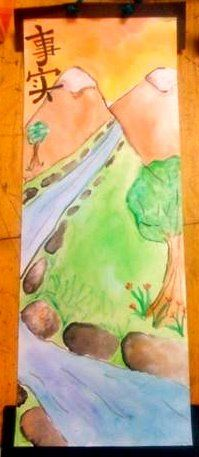 chinese scrolls with watercolor and ink. 5th grade