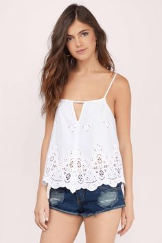 Go easy, breezy in the Feel the Breeze Eyelet Top. Cami top with a low back and front keyhole. Wear with flared pants and a fringed vest. Flowy Tops, Cami Tops, Summer Outfits, Casual Outfits, Fashion Outfits, Discount Swimwear, Eyelet Top, Black Models, Pretty Outfits