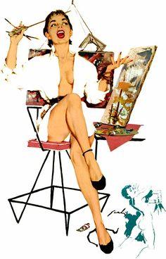 Pin-up Artist ~ Mauro Scali, ca. Retro Pin Up, Calendar Girls, Photo Pin, Nose Art, Pulp Art, Pin Up Art, Pin Up Style, Cartoon Styles, Pin Up Girls