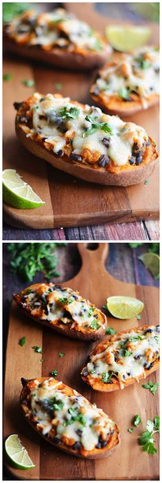 Chipotle, Black Bean, and Roasted Garlic Twice-Baked Sweet Potatoes