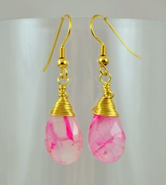 Pink Crackle Chalcedony Earrings Gold Wire Wrapped Earrings Gemstone Drop Earrings by Gemstonique on Etsy https://www.etsy.com/listing/238547267/pink-crackle-chalcedony-earrings-gold