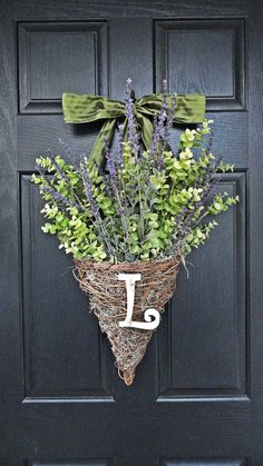 Little porch door Lavender and Eucalyptus Hanging Wicker Basket Spring and Summer Wreath With Personalized Monogram via Etsy Front Door Decor, Wreaths For Front Door, Door Wreaths, Hanging Baskets, Wicker Baskets, Summer Wreath, Seasonal Decor, Decorating Your Home, Plant Decor