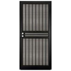 Unique Home Designs 36 in. x 80 in. Guardian Black Surface Mount Outswing Steel Security Door with Tan Perforated Aluminum Screen at The Home Depot - Mobile Metal Screen Doors, Aluminum Screen, Iron Doors, Door Grill, Window Grill Design, Steel Security Doors, Security Screen, Security Tips, Luis Mariano