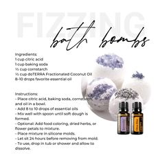DIY Fizzing Bath Bombs with essential oils Fizzing Bath Bombs, Oil Mix, Citric Acid, Doterra Essential Oils, Baking Soda, Coconut, Diy, Bricolage, Diys