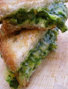 spinach, avocado, gouda sandwich