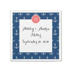 Navy Blue White Anchors Pattern, Coral Monogram Disposable Napkins